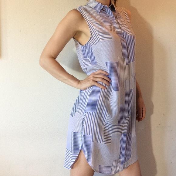 Equipment Tops - EQUIPMENT FEMME Sky Blue White Tunic Button Up
